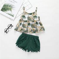 t kugelsätze großhandel-Sommer INS Design Baby Mädchen Grünes Blatt Hemd Kleid Tops Mit Quaste Ball Kurze Bloomers 2 stück Anzüge Mädchen Lolita Kleidung Set für 0-5 T
