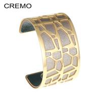 joyas de jirafa al por mayor-Brazaletes de jirafa Cremo Pulseras de acero inoxidable Joyas de oro para mujeres Manchette Brazalete de cuero ancho reversible Pulseras