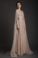 Wholesale sexy net size 14 dress resale online - 2019 New Arrival Krikor Jabotian Stunning Amazing Scoop Beadings A line Sweep Train Net Evening Dress vestido de novia