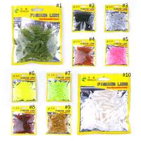 iscas de pesca suave japão venda por atacado-HENGJIA Isca de Pesca Artificial Macio 50 peças de um Saco para o Japão Shad Soft Equipamento De Pesca Grub Verme Espiral t Cauda Peixe Iscas