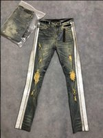 vieux jeans achat en gros de-2019 Mode Hommes Argent Flash pour Vieux Jeans Zipper Creux Out Biker Classique Facile Mince Denim Droite Pantalon Poudre D'or décorer