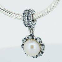 грушевые прелести оптовых-Christmas gift 925 Sterling Silver  Fits European DIY Charms Bracelet Fresh Water Cultured pear Women Jewelry Findings