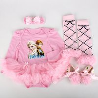 Wholesale spring autumn period clothing resale online – Foreign Trade Exploded Ice and Snow Qiyuan Long Sleeve Hammer Skirt Baby Clothes Baby s Four piece Suit Socks Spring and Autumn Period