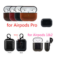 Wholesale iphone portable charging case for sale – best For AirPods Pro Case PU Leather case Protective Shockproof Charging Portable Earphone Vintage Cover With Anti lost Hook For Airpods