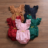Wholesale baby girl brand clothing online - Baby Back cross romper INS Girls boys Ruffle Flying sleeve Jumpsuits summer fashion Boutique kids Climbing clothes C6067