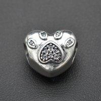 ingrosso polpette-Accessori in argento con perline in argento a forma di polpetta a forma di polpetta di gatto bianco intarsiato