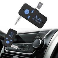 kart okuyucu mp3 toptan satış-Üç bir X6 Bluetooth alıcısı MP3 araç müzik çalar USB AUX 3.5mm ses jakı TF kart okuyucu MIC eller serbest arama