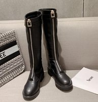 Wholesale leather high knee platform resale online - Luxury Women Designer Zip Border Knee High Boots Come With Box Size To