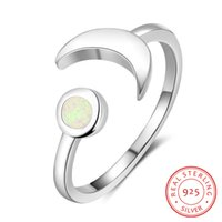 Wholesale opal engagement rings for women resale online - 925 Sterling Silver Fashionable White Fire Opal Open Crescent Moon Star Rings Silver Ring Jewellry Designs for Girl Women Engagement Gift