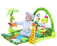 wald tier baby spielzeug großhandel-[TOP] 100% sicher Zarte Musik Sound Farm Animal Giraffe Babyspielmatte Teppich Aktivität Wald Spielmatte Gym Toy Spielmatte