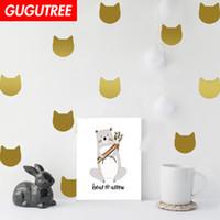 etiqueta do papel de parede do projeto do gato venda por atacado-Decore Home gatos arte dos desenhos animados adesivos de parede decoração Decalques mural pintura Removível Decoração Papel De Parede G-1853