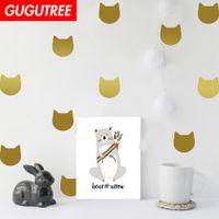 katzeentwurfstapetenaufkleber großhandel-Dekorieren Home Katzen Cartoon Kunst Wandaufkleber Dekoration Decals Wandmalerei Removable Decor Wallpaper G-1853