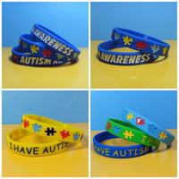 браслеты оптовых-Аутизм осведомленности браслет силиконовые три цвета головоломки логотип человек браслет ремешок для взрослых и детей популярные ювелирные изделия подарки 1 3fb E1