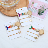 Wholesale baby accessories online - Girl Pearl Hair Clip Shell Mermaid Hairpin Metal Star Hair Pins Princess Baby Barrette Grips Hair Accessories GGA2079