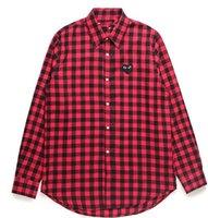 футболка с воротником из мандарина оптовых-Мужчины Wome двойное сердце DES играть GARCONS CDG вышитые один красный золотое сердце с длинным рукавом повседневная рубашка глаза футболки поло Y-3 Tee