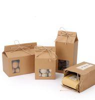 steh auf papierkiste fenster großhandel-Tee verpackung karton kraftpapiertüte, klare fenster box für kuchen cookie lebensmittel lagerung stehen papier verpackungsbeutel