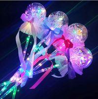 Wholesale magic decor resale online - Kids LED Glowing Sticks Toys Flashing Lights Handheld Balloon Magic Stick Bowknot Luminous Ball Wedding Party Decor Valentine s Gift