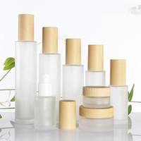 pots pour crèmes pour le visage achat en gros de-30ml / 40ml / 60ml / 80ml / 100ml bouteille en verre de pot de crème cosmétique en verre dépoli, pot de crème pour le visage, couvercles en bambou d'imitation de bouteille de pompe de lotion de base
