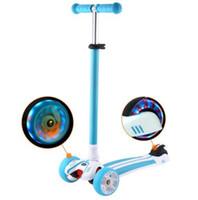 alüminyum scooter'lar toptan satış-Çocuklar için Çocuk Ayak Scooter Yanıp sönen Alaşım Çocuk T şeklinde Scooter Alüminyum PU Tekerlek ile Scooter Kick
