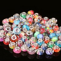 perlas de cristal de murano joyas al por mayor-20pcs murano mezclado al azar grande del agujero (5 mm) sueltas perlas de vidrio para la pulsera europea DIY joyería que hace BeadSize 8 * 13mm