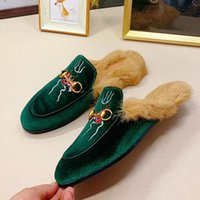 Wholesale embroidered velvet moccasin for sale - Group buy Men s and women s warm plus velvet no heel muller shoes autumn and winter new leather letters embroidered Baotou rabbit fur slippers