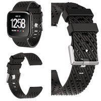 Wholesale smallest smart watch for sale – best Fitbit Versa Band Soft Silicone Replacement Metal Buckle Sports Wristband for Men and Women Large Size Small Size