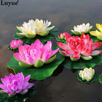 ingrosso serbatoio di loto-Luyue 5pcs / lot Schiuma artificiale Fiori di loto Bouquet finto per la decorazione di nozze Serbatoio di pesce Galleggiante Simulazione dell'acqua Lily Lotus