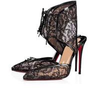 sandálias de renda preta para as mulheres venda por atacado-Mulheres apontadas toe sexy Renda Preta Oco Sandálias de Salto Alto Couro Genuíno lace-up Mulheres stiletto botas de salto partido T-stage passarela sapatos