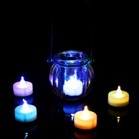 батареи для светодиодных свечей оптовых-Рождественские огни 3.5 * 4.5 см на батарейках Flicker беспламенный LED чай Tealight чай свечи свет свадьба день рождения рождественские украшения