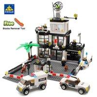 просветить строительные кирпичи оптовых-Совместимость Legoing город строительные блоки DIY полицейский участок тюрьмы цифры просветить кирпичи блоки модель игрушки для детей