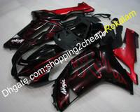 636 kit en plastique achat en gros de-ZX 6R Carénage en plastique ABS pour Kawasaki 07 08 ZX-6R Ninja 636 ZX636 ZX6R 2007 2008 Kit Capot Race Rouge Noir (Injection)