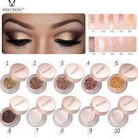 nötr parıltı göz farı paleti toptan satış-Toptan MISS ROSE bling krem Işıltılı Pigment Glitter Göz Farı Paleti Nudes Nötr Göz Farı pırıltılı glitter göz farı paleti