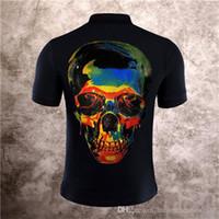 temel pamuklu t-shirt toptan satış-PP Erkek Tasarımcı T Shirt Yeni Yaz Temel Katı T-shirt Erkekler Moda Nakış Kafatası T-shirt Erkek En Kaliteli% 100% Pamuk Tees