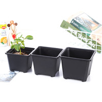 Wholesale plastic indoor flower pots for sale - Group buy Square Nursery Plastic Flower Pot Planter Size for Indoor Home Desk Bedside or Floor and Outdoor Yard lawn or Garden Planting DH0180