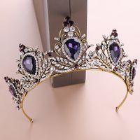 coronas redondas completas al por mayor-Corona nupcial púrpura Cristales de diamantes de imitación Coronas de boda Coronas reales Accesorios para el cabello Fiesta Tiaras Barroco chic Dulce 16 Ronda completa