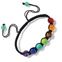 europa-perlen-art und weisearmband großhandel-Europa Unisex Perlen Armband Modeschmuck Fabrik Großhandel Chakren Armband Regenbogen bunte Yoga Energie Perlen Armband gewebt
