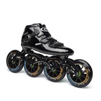 räder für schlittschuhe großhandel-Speed Inline Skates Carbon Professionelle Rollschuhe Competition Skates 4 Wheels Racing Skating Patines Ähnliche Powerslide