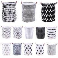 Wholesale laundry barrel resale online - Home Folding Laundry Basket Cartoon Storage Barrel Standing Toys Clothing Storage Bucket Laundry Organizer Holder Pouch LJJ_TA782