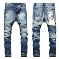 famosos hombres de marca s jeans al por mayor-Nuevos Pantalones vaqueros para hombre Robin Motociclista pantalones vaqueros del motorista Renacimiento de la piel Skinny Slim Ripped hole Hombres Famous Brand Denim pantalones Hombres Diseñador