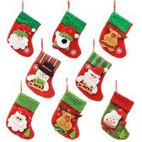 santa claus yılbaşı ağacı süsleri toptan satış-Noel Baba Noel Stocking Noel Ağacı Süs Noel Çorap Şeker Hediye Çantası Ev Partisi Dekoratif TTA1621