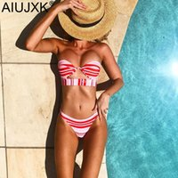 ingrosso bating suits-AIUJXK Summer Style Red Striped Sexy Lingerie Donna Biquini 2 pezzi Costume da bagno Beach Style Bra Set Femminile Swimming Bating Suit