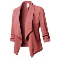 ropa casual para mujeres de trabajo al por mayor-Moda mujer delgado OL chaqueta informal chaqueta chaqueta de trabajo oficina señora ropa traje ninguno botón de negocios Femal Blaze capa