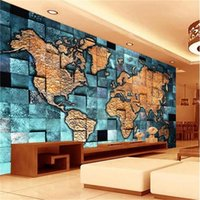 Wholesale chinese square art for sale - Group buy Custom D Room Photo Wallpaper Mural World Map Blue Square d Picture Mural Modern Art Creative Living Room Hotel Study Backdrop Wallpaper
