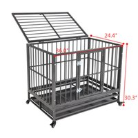 Heavy Duty Dog Cage Crate Kennel Metal Pet Playpen Portable with Tray Silver