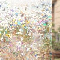 fenster filmmuster großhandel-85cm Durch 300cm Nichtklebende Fensterfolie, 3d Dekorative Privatsphäre Statisch Haftet Regenbogen Buntes Muster Glasfolie, Vinyl Aufkleber T190704