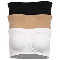 weiße trägerlose röhrenspitzen großhandel-Damen Bandeau BH, Trägerloser Basic Layer Tube Top Gepolsterter Seamless Comfort BH, 3 Farben (weiß / schwarz / beige)
