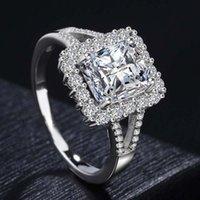 925 männer ring weißes gold großhandel-Top Luxus Edelstein Ring weibliche Mode 925 Sterling Silber Ring Männer und Frauen Paar Ring 14K Weißgold Brosche