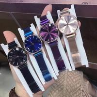 ingrosso nuovi modelli di abbigliamento per le ragazze-2019 Nuovo modello diamante Moda donna orologio blu viola Lusso orologi piccoli quadrante signora elegante da polso Articoli caldi regalo ragazze