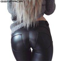 ingrosso gambali in spandex in pelle-Pantaloni hip-hop skinny di grandi dimensioni a molla Pantaloni in pelle nera elastica in pelle PU Guaina Leggings casual da moto sexy