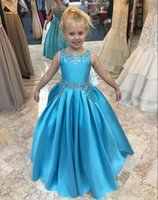 Wholesale rhinestone back wedding dress for sale - Group buy Flower Girl Dress with Pleats Rhinestones Satin Princess Dress with Lace Up Back Girls Birthday Party Gowns Custom Made